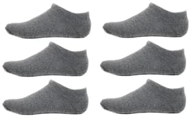 HASHBEAN Grey Cotton No show socks ( Pack of 6 )