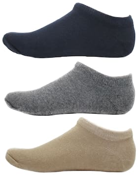 HASHBEAN Blue Cotton No show socks ( Pack of 3 )