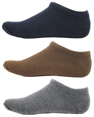 HashBean Men's No Show Low Cut Loafer socks (1 Navy, 1 Brown, 1 Grey)