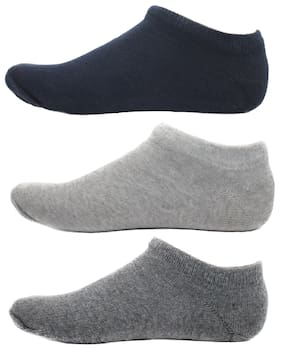 HashBean Men's No Show Low Cut Loafer socks (1 Navy, 1 Silver, 1 Grey)