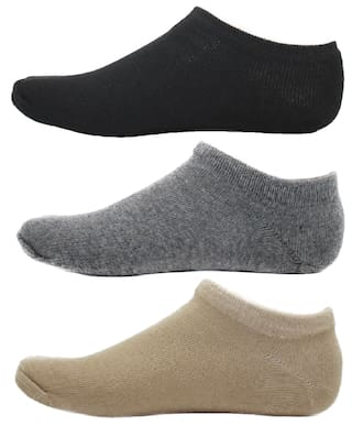 HashBean Men's No Show Low Cut Loafer socks (1 Black, 1 Grey, 1 Beige)