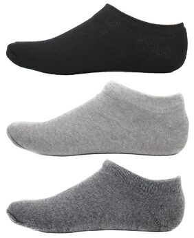 HashBean Men's No Show Low Cut Loafer socks (1 Black, 1 Silver, 1 Grey)