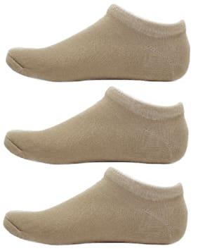 HASHBEAN Tan Cotton No show socks ( Pack of 3 )