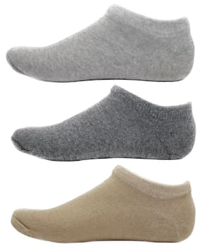 HashBean Men's No Show Low Cut Loafer socks (1 Silver, 1 Grey, 1 Beige)