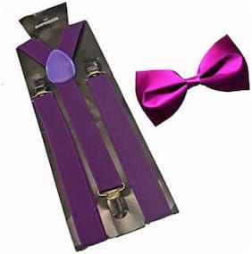 men's purple elastic adjustable suspender with bow tie (pack of one)