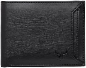 Men Synthetic Leather Bi-Fold Wallet ( Black )