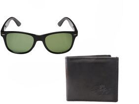 Men's Combo - PU Leather Wallet (Black) & Rectangular Frame Sunglasses (Black) (Box Included)