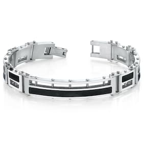 Mens Black Enamel Stylish Stainless Steel Bracelet