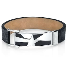 Mens Shooting Star Black Genuine Leather and Stainless Steel Bracelet