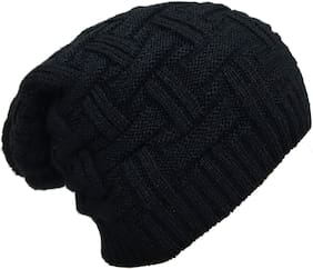 Mens Winter Beanie Hat Warm Cuff Knit Ski Skull Cap(Blacky)