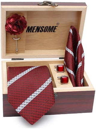 MENSOME Men's Cotton Necktie;Pocket Square;Lapel Pin and Cufflinks Gift Set Maroon Free Size