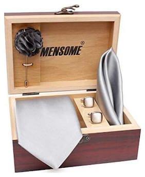 MENSOME Men's Cotton Necktie;Pocket Square;Lapel pin Cufflinks Gift Set Grey Free Size