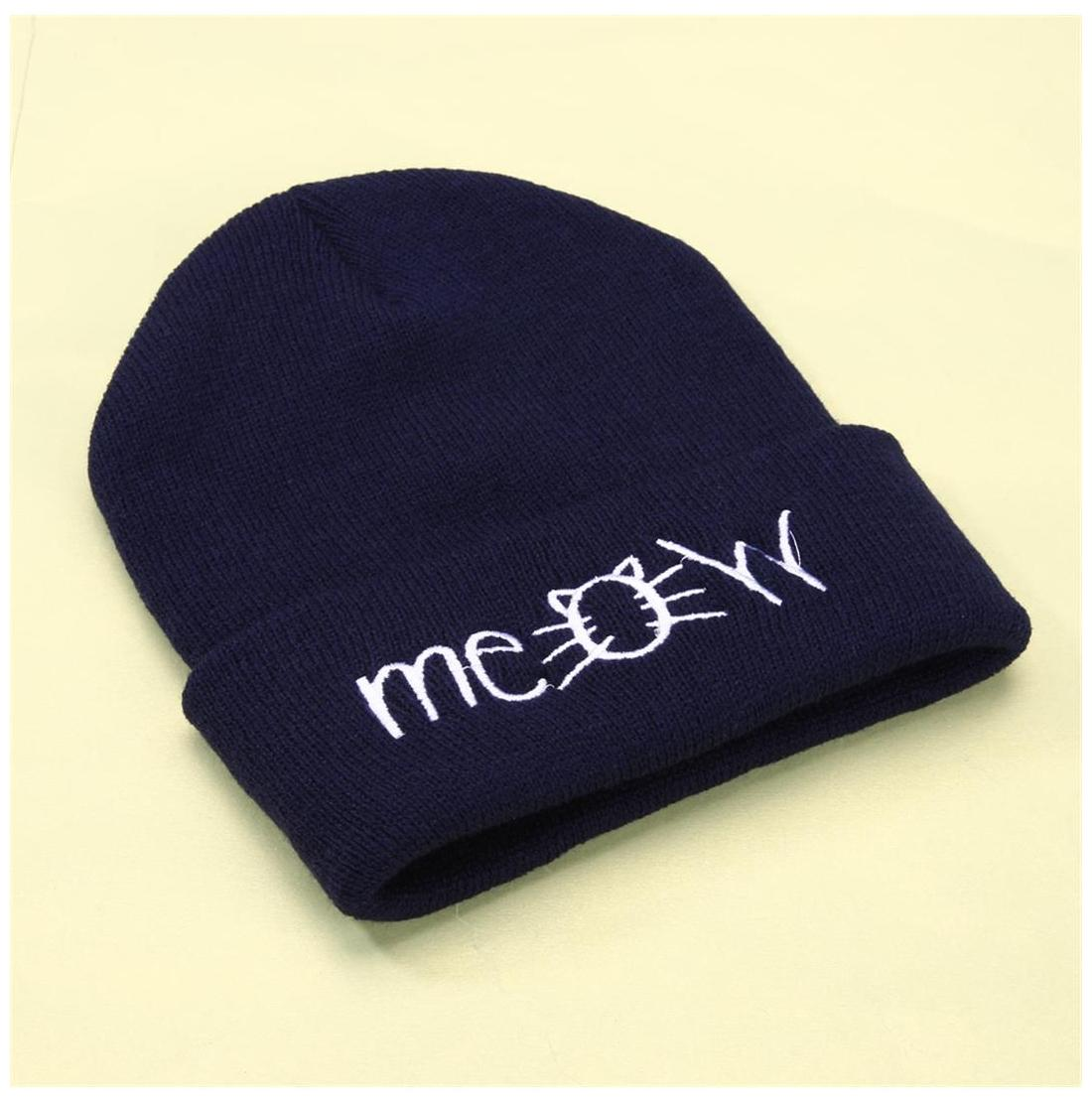 23fae26f4ff Buy MEOW Cap Winter Casual Hip Hop Knitted Wool Skullies Beanie Hat (Navy)  Online at Low Prices in India - Paytmmall.com