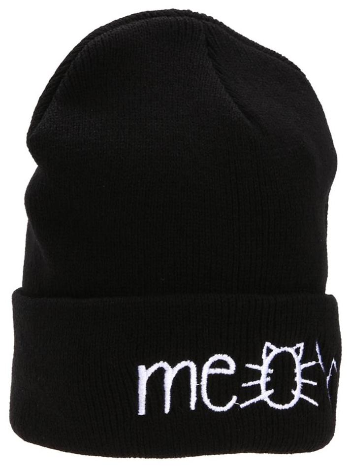 c0c56fc1f7e Buy MEOW Cap Winter Casual Hip Hop Knitted Wool Skullies Beanie Hat (Black)  Online at Low Prices in India - Paytmmall.com