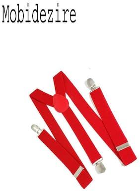 Mobidezire Men Pu Suspenders - Red