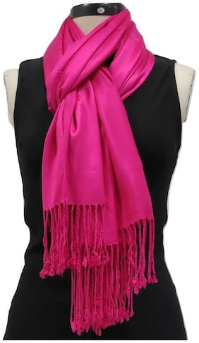 Monika Collection Women Satin Stoles - Pink