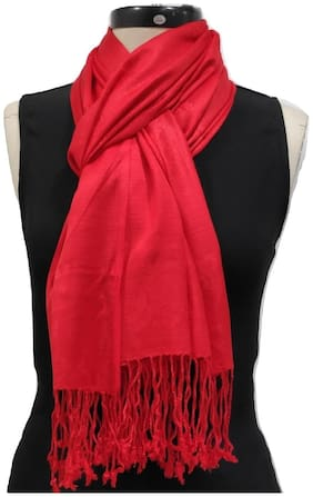Monika Collection Women Viscose & Rayon Stoles & Scarves - Red