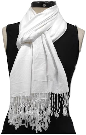 Monika Collection Women Viscose & Rayon Stoles & Scarves - White