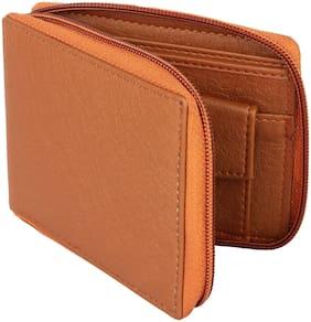 Moody Max - Casual Men's Tan Genuine Leatherette Zipper Wallet