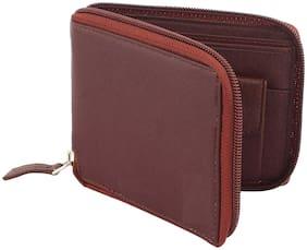 Moody Max - Casual Men's Brown Genuine Leatherette Zipper Wallet