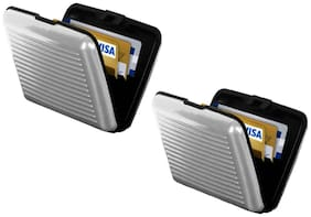 MPI Aluminum ATM Credit Card Holder Unisex Wallet - 2 pc -Silver