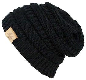 MSTC Slouchy woolen Long Beanie Cap for Winter (Black) (Assorted Design)