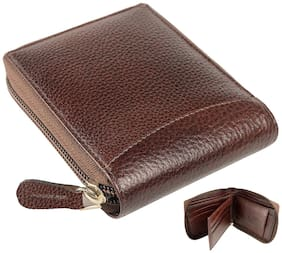M TUGGAR Men Brown Leather Zip Around Wallet ( Pack of 1 )