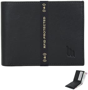Mtuggar Men's Black Genuine Leather RFID Blocking Wallet