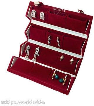Mudra Industry 12 Pair Earrings Organizer Red Velvet Folding Jewellery Box