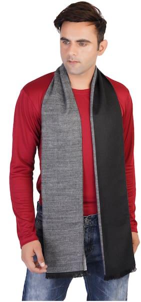 MUFFLY Men Wool Muffler - Grey & Black