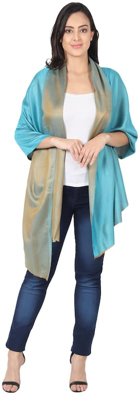 MUFFLY Women Silk Stoles - Turquoise & Gold