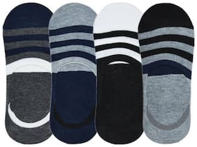 Multi Color No Show  Socks with Stripped Print For Unisex(pack-4 ,Any 4 color)