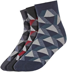 Men Crew Length Socks Pack of 3 ( Blue )