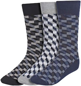 Creature Black Cotton Calf length socks ( Pack of 3 )