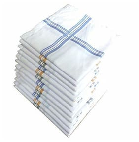 N G Products Premium Cotton White Handkerchief for Men and Boy_Set of 12 pcs_size: 44 44 cm