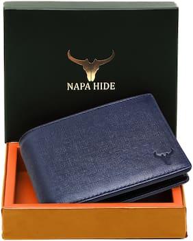 NAPA HIDE Men Blue Leather Textured RFID Blocking Bi-Fold Wallet