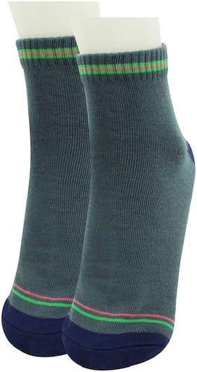 Neska Moda Green Cotton Ankle length socks ( Pack of 1 )