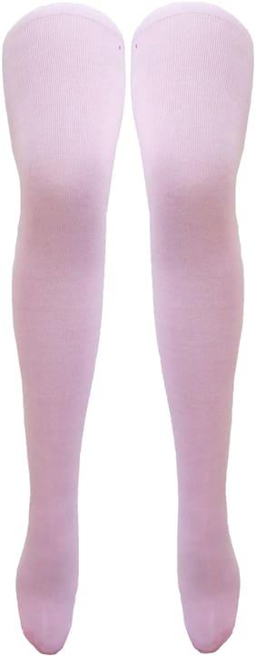 Neska Moda Women's Pink Plain Cotton Thigh-High Stockings