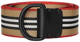 NEW BURBERRY CURRENT ICON STRIPE DOUBLE D-RING WEBBING BELT 85/34