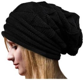 New Designers Black woolen long Beanie Cap For Girl