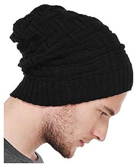 New Designers Black woolen long Beanie Cap For Winter e3f6c0788b1