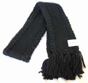 NEW FOSSIL ADDISON THICK KNITTED BLACK ACRYLIC SCARF w/ FRINGE+BRAIDED TRIM