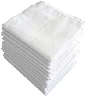 NEWMAN Men's 100% Cotton White Handkerchief For Men Set of 12 pcs_size: 51  51 cm