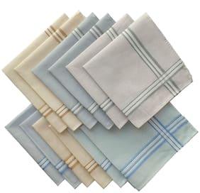 NEWMAN Men's 100% Cotton Handkerchief For Men Set of 12 pcs_size: 49  49 cm(Multicolor with Strips)