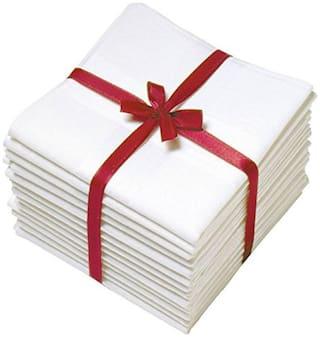 NEWMAN Men's 100% Cotton White Handkerchief For Men Set of 12 pcs_size: 48 48 cm