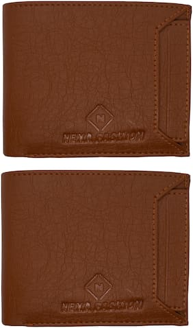 NEXA FASHION Men Brown Leather Bi-Fold Wallet ( Pack of 2 )