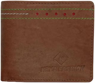 NEXA FASHION Brown Bi-Fold Leather Wallet For Men (Pack of 1)