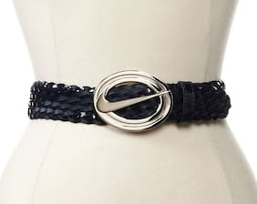 Nike Women's Swoosh Logo Cutout Braided Leather Belt Obsidian Blue Small 30-34""
