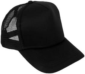 ODDEVEN Solid Black Half Net, Baseball, Trucker Caps, Mesh Cap