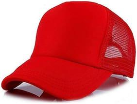 ODDEVEN Solid Red Half Net, Baseball, Trucker Caps, Mesh Cap